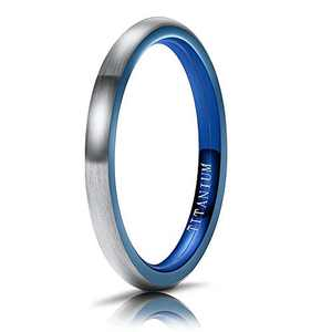 M MOOHAM Mens Wedding Bands Silver and Blue 2mm Titanium Ring Engagement Wedding Bands for Men Size 11