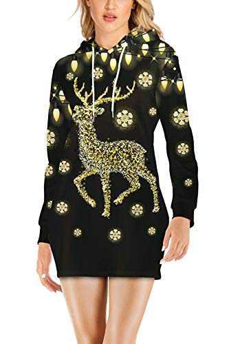 LaSuiveur Women's Slim Fit Ugly Christmas Sweater Dress with Hood Reindeer M