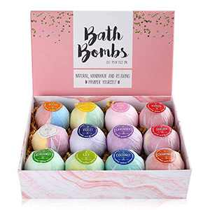 LotFancy Bath Bombs, 12PCS Natural Bath Bombs Gift Set, Fizzy Spa Handmade Bubble Bath Bombs for Women Men Kids, Rich in Essential Oil, Shea Butter, Valentines Gifts for Adults, Girls, Moms, Wife
