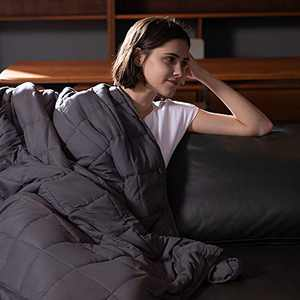 Syrinx Weighted Blanket King Size 20lbs, 80''x87'', Dark Grey for Adults, 100% Breathable Soft Fabric with Glass Beads