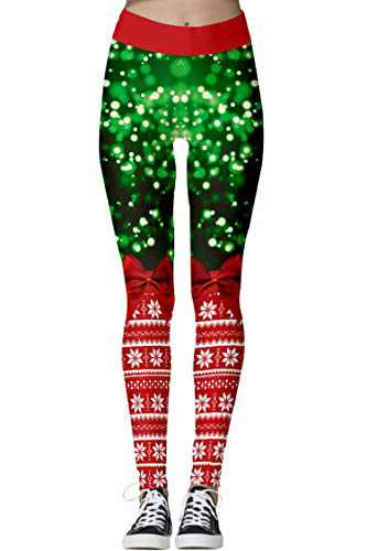 Selatamy Women's Ugly Santa Christmas Xmas Leggings Funny Print Costume Fashion Ankle Length Stretchy Footless Pants Tights