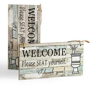 """DOCMON Bathroom Decor Wall Hanging Wood Sign (2 Pack)- Welcome Please Seat Yourself - Farmhouse Rustic Wall Decor Art Sign Size 7.9"""" x 3.9"""" (Blue-Black)"""