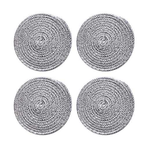 100% Pure Rope Thread Weave Hot Pot Holders Set (Set of 4), Large Hot Mats Thread Weave Round Drink Coasters Set of 4 by 7 Inches, Bowl Coasters for Drink Home Kitchen