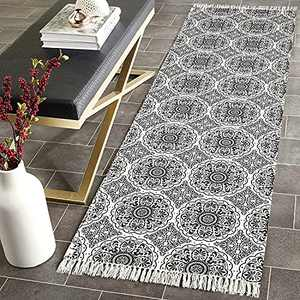 MOTINI Black White Runner Rug, Hand Woven Cotton Area Rug with Tassels, Floral Print Accent Rug for Living Room, Bedroom, Doorway, Hallway, Entry 2'x6'