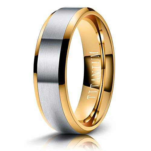 M MOOHAM Mens Wedding Bands Silver and Gold 6mm Titanium Rings Brushed Wedding Bands for Men Size 9