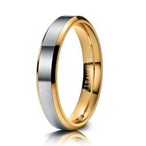 M MOOHAM Mens Wedding Bands Silver and Gold 4mm Titanium Rings Brushed Wedding Bands for Men Size 8