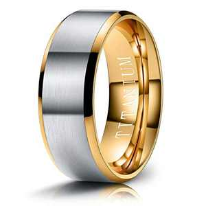 M MOOHAM Mens Wedding Bands Silver and Gold 8mm Titanium Rings Brushed Wedding Bands for Men Size 8