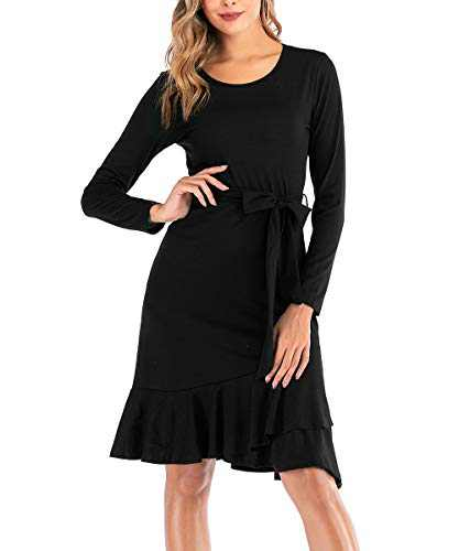 Zarjar Long Sleeve Casual Dress for Women Elegant Modest Midi Dresses with Belt Black, Medium