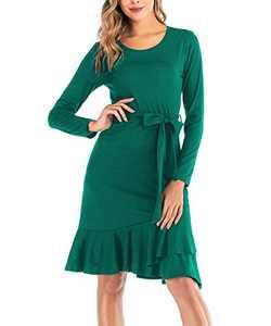Zarjar Women's Long Sleeve Dresses with Belt Long Casual Dress for Party Beach Dark Green