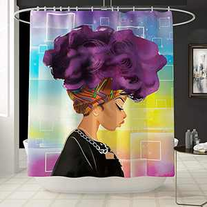 TOPCHANCES Christmas Shower Curtain Decor, Waterproof Polyester Fabric African Women Shower Curtain Bathroom Curtain Decor Set with Hooks -71inches X 71inches