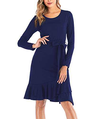 Zarjar Women's Long Sleeve Dresses with Belt Long Casual Dress for Party Beach Dark Blue