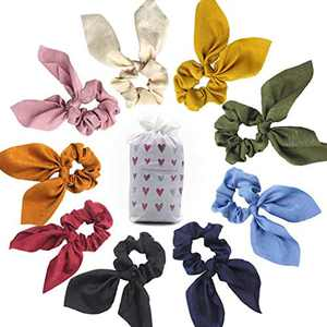 Hair Scrunchies, Rabbit Ear Elastic Hair Bands Silk Charmeuse Scrunchy Hair Bow Ponytail Holder Hair Ties Ropes for Women or Girls Hair Accessories with Storage Bag, 9 Colors