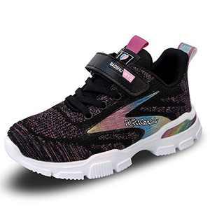 FJWYSANGU Kids Sneakers Athletic Walking Running Shoes Sports Trainers for Girls (Little Kid/Big Kid) Black