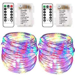Battery Rope Lights 2 Pack 100 LED Battery Fairy Rope Lights 33 feet 8 Modes with remote Waterproof Outdoor Twinkle PVC Tube Lights Indoor Christmas Decor Battery String Light for Garden Party Décor