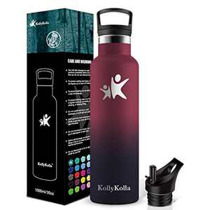 KollyKolla Stainless Steel Vacuum Insulated Water Bottle with Straw Lid- 12/17/20/25/32oz Metal Reusable Drinks Bottles, Hot & Cold Leak Proof Thermoflask, Mordern Double Walled Flask for Kids, Sports