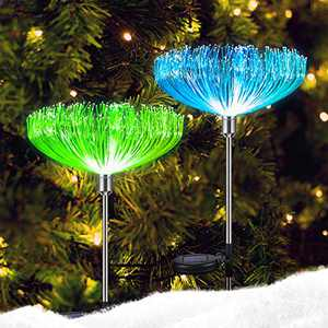 Neporal Solar Garden Lights, 7 Color Changing Solar Lights Outdoor Decorative, IP65 Waterproof Garden Lights Solar Powered, 2 Pack Solar Flower Lights, Fiber Optic for Yard Patio Pathway Decorations