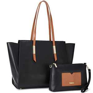 Kattee Genuine Leather Tote Purses and Handbags for Women, Shoulder Bags Crossbody Hobo 2pcs Purse Set Black