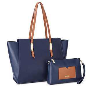 Kattee Genuine Leather Tote Purses and Handbags for Women, Shoulder Bags Crossbody Hobo 2pcs Purse Set Dark Blue