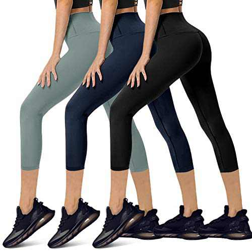 YOLIX 3 Pack High Waisted Capri Leggings for Women - Buttery Soft Workout Running Yoga Pants