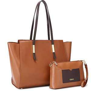 Kattee Genuine Leather Tote Purses and Handbags for Women, Shoulder Bags Crossbody Hobo 2pcs Purse Set Brown