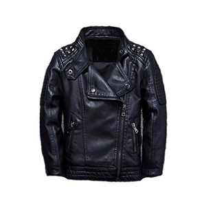 Meeyou Children's Motorcycle Leather Jacket, Faux Leather Coat for Boys/Girls (130/7-8T, V Neck)
