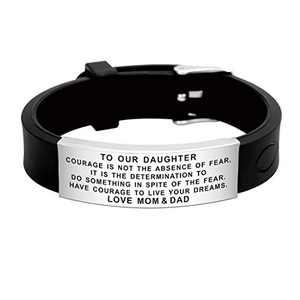 FALOGIJE Mom and Dad to Daughter Bracelet Nice Gift for Kids Teenage Girls Women Fashion Engraved Lovely Design Reminder