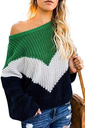 Carprinass Ladies Slouchy Striped Sweaters Coloblock Winter Cozy Kniwear Green S