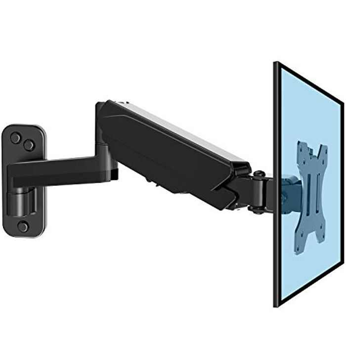 HUANUO 13-32 Inch Monitor Wall Mount Bracket with VESA Extension Kit for Computer/TV Screens, Full Adjustable Gas Spring Single Arm Support 8 kg Monitor, VESA 75x75, 100x100, 200x100, 200x200 mm