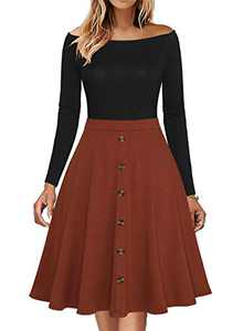 Fantaist Winter Long Sleeve A Line Dresses for Events,Women Off Shoulder Casual Office Work Fit and Flare Dress (L, FT664-Black Brown)