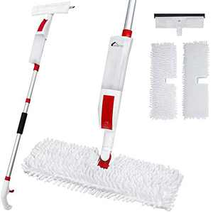 VENETIO Flip Spray Mop for Floor Cleaning with 2 Reusable Pads & 1 Refillable Bottle & 1 Extra Squeegee Head - Dual-sided Flat Microfiber Mop Cleaner for Wood, Hardwood, Laminate, Tile, Vinyl, Ceramic
