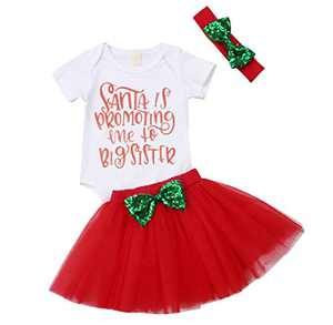 Girls'It's My Birthday Print Shirt Tutu Skirt Dress Outfit Set (P-Santa is Promoting Me to Big Sister, 3-6 Months)