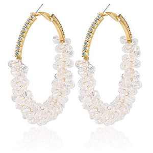 Sllaiss Fashion White Beaded Earrings for Women Copper Bohemian Crystal Earrings Statement Beaded Hoop Earrings Gold Plated