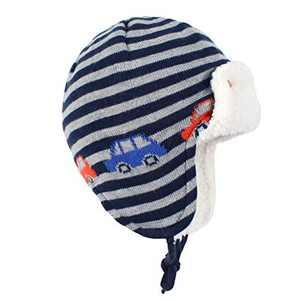 Y.R.Lover Toddler Kids Winter Hat Warm Beanie Earflap Cap Knit Fleece Hats Mitten Gloves Set(Car/No Mittens, S(2-12 Months))