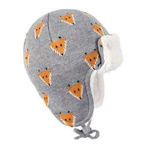 Y.R.Lover Toddler Kids Winter Hat Warm Beanie Earflap Cap Knit Fleece Hats Mitten Gloves Set(Fox/No Mittens, S(2-12 Months))