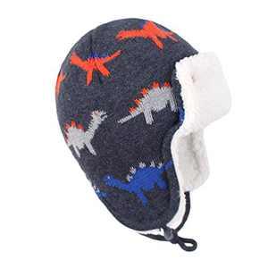 Y.R.Lover Toddler Kids Winter Hat Warm Beanie Earflap Cap Knit Fleece Hats Mitten Gloves Set(Dinosaur/No Mittens, M(1-2 Years))