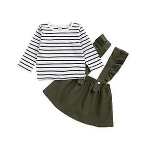 Kids Toddler Baby Girls Skirt Sets Long Sleeve Top + Ruffle Strap Suspender Dress Outfits Clothes (Green 3, 80(12-18 Months))