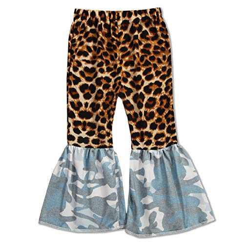 luethbiezx Girls Leopard Bell-Bottoms Ruffle Leggings Print Flared Pants Elastic Waist (Leopard Print Blue Camouflage, 90(2-3T))