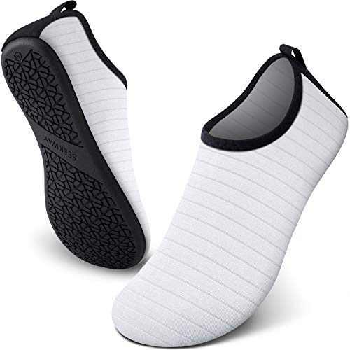 SEEKWAY Water Shoes Women Men Adult Quick-Dry Aqua Socks Barefoot Non Slip for Beach Swim River Pool Lake surf White SK002(U) 5-6 Women/3.5-4.5men