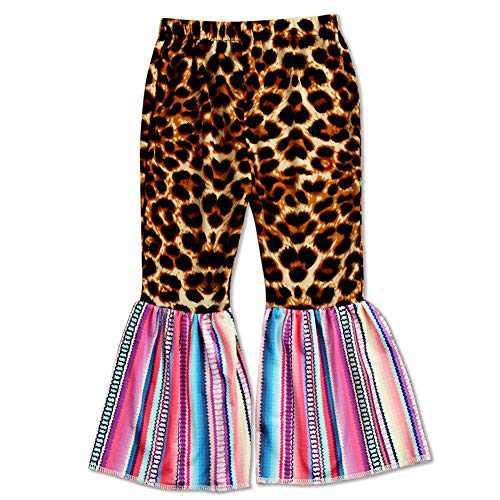 luethbiezx Girls Leopard Bell-Bottoms Ruffle Leggings Print Flared Pants Elastic Waist (Leopard Print Rainbow Stripe, 90(2-3T))