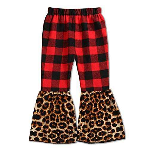 luethbiezx Girls Leopard Bell-Bottoms Ruffle Leggings Print Flared Pants Elastic Waist (Red and Black Plaid Spell Leopard, 80(1-2T))