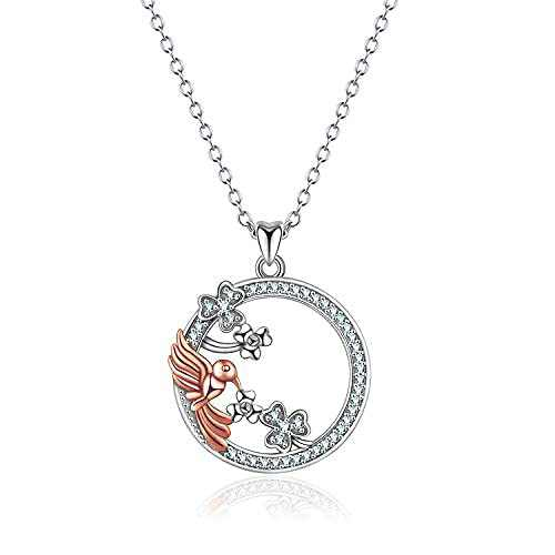 Hummingbird Necklace Sterling Silver Hummingbird Pendant Necklace Bird Jewelry for Women
