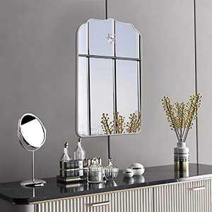 MOTINI Rectangle Wall Mirrors for Wall Mount Arch Ornate Decorative Wall Mirror with Silver White Frame Hanging Vanity Mirror for Bathroom, Living Room, Bedroom, Entryway
