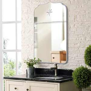 MOTINI Wall Mirror, Silver Metal Frame Rectangle Mirror, Wall Mounted Mirror with Laser Engraving and Printing for Bathroom Living Rooms Hallway Entryway