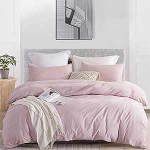 """JOHNPEY Duvet Cover Queen (1 Duvet Cover+2 Pillow Shams),Solid Color Soft and Breathable,100% Washed Microfiber,with Zipper Closure(Pink Mocha,Queen90 90""""),No Comforter"""