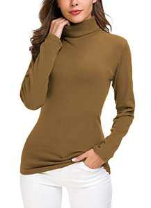 Women's Turtleneck Sweater Cable Knitted Solid Pullover Top (S, Cashew)