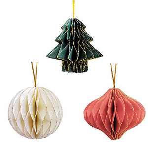 NICROLANDEE Paper Honeycomb Party Decorations - 3PCS 3D Mini Glitter Edge Paper Honeycomb Tree, Ball, Lantern Hanging Ornament for Holiday, Tree Décor, Nursey Home Decor, Wall Decorations