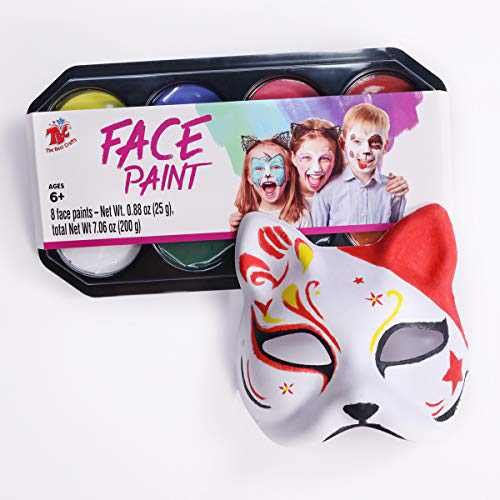 TBC The Best Crafts 8 Colors Large Cosmetics Grade Face Paints Palette, Water-Based, Non-Toxic, Non-Grease Body Paint Pack, Cosplay Holiday Party Costume Face Washable Makeup Face Paints Kit