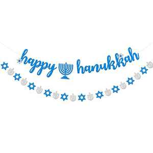 Bessmoso Happy Hanukkah Decorations Banner Chanukah Festival Party Decorations Silver Blue Glitter
