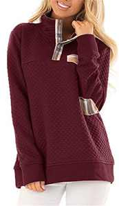 Women's Button Neck Quilted Pullover Sweatshirts Patchwork Elbow Patches Tops Outwear Wine