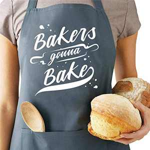Saukore Funny Baking Aprons for Women Men - Bakers Gonna Bake - Kitchen Chef Cooking Aprons with 2 Pockets, Cute Birthday, Mother's Day Apron Gifts for Mom Wife Husband Dad Girlfriend Boyfriend